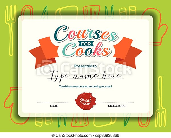 Kids Cooking Courses Certificate Template Kids Cooking Courses