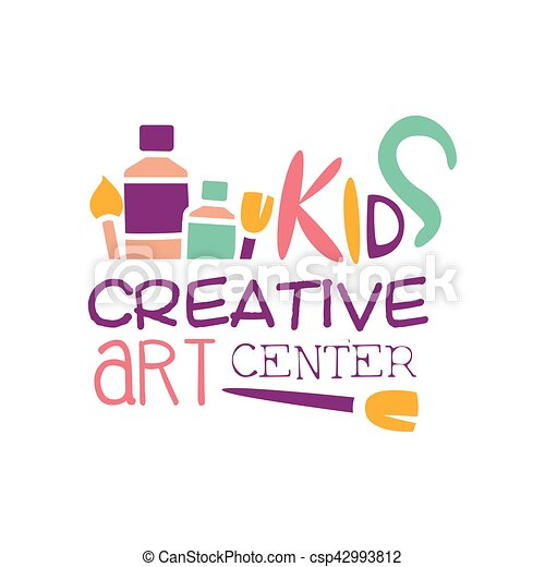 kids creative class template promotional logo with paintbrush
