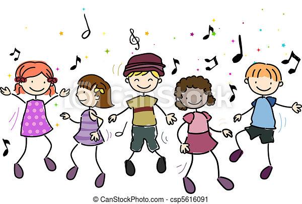 illustration of kids dancing along to music clipart search rh canstockphoto com clip art dance shoes clip art dance studio