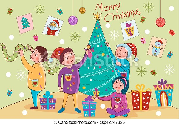 Kids Decorating Tree For Merry Christmas Holiday Celebration Background Vector Illustration Of Kids Decorating Tree For Canstock