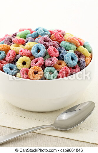 kids delicious and nutritious cereal loops or fruit cereal - csp9661846