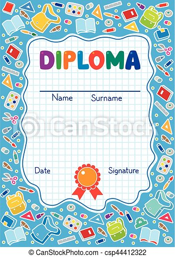 kids diploma background with education supplies kids diploma