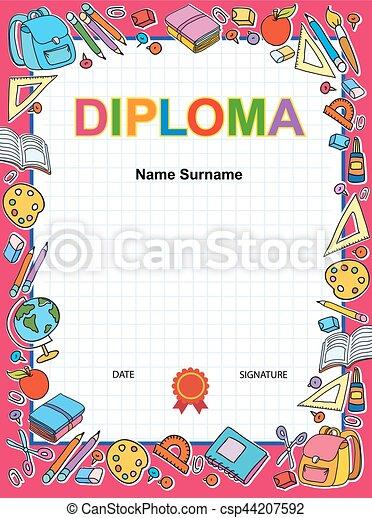 kids diploma certificate background design template kids diploma