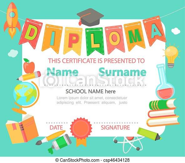 kids diploma certificate kindergarten preschool elementary school