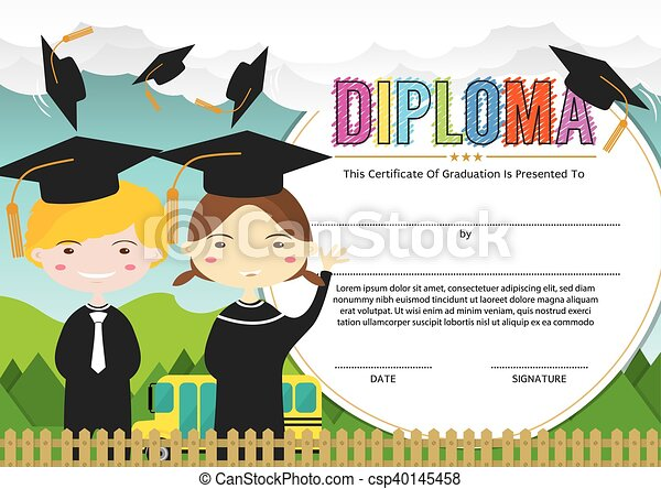 Kids diploma certificate template preschool elementary school kids kids diploma certificate template csp40145458 yadclub Image collections