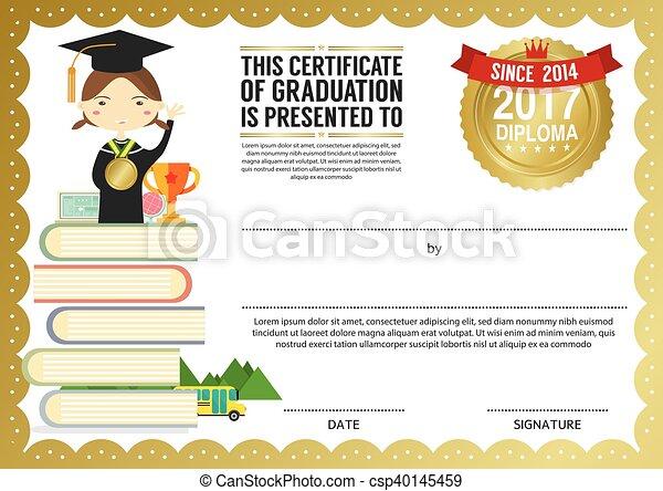 kids diploma certificate template preschool elementary school kids