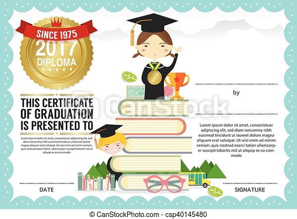 Kids diploma certificate template preschool elementary vector kids diploma certificate template csp40145480 yadclub Gallery