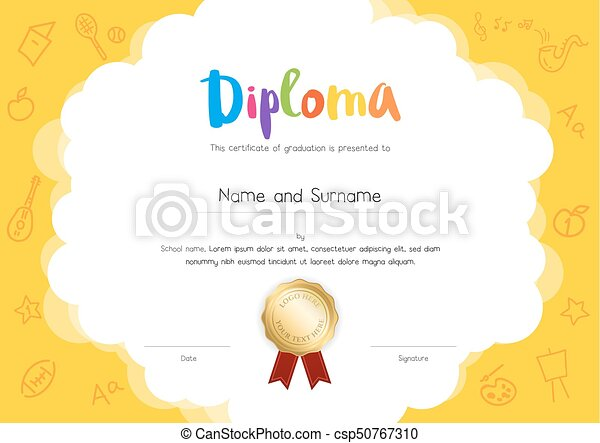 Kids diploma or certificate template with hand drawing vector kids diploma or certificate template with hand drawing cartoon style background csp50767310 yadclub Image collections