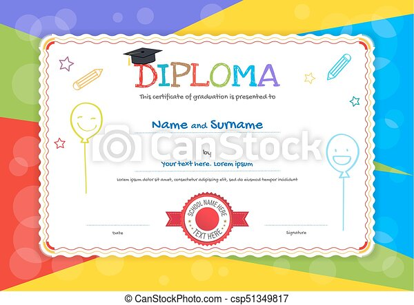 Kids diploma or certificate template with hand drawing cartoon style kids diploma or certificate template with hand drawing cartoon style background csp51349817 yadclub Gallery