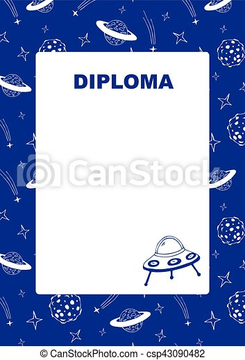 Kids diploma with space background. - csp43090482