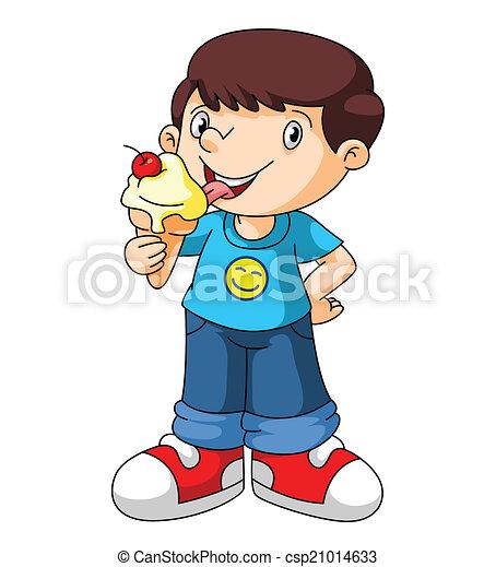 Kids Eat Ice Cream Vector