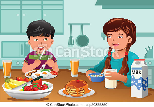 Kids Eating Healthy Breakfast A Vector Illustration Of