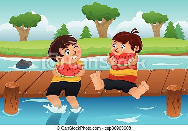Kids Eating Watermelon - csp36963608