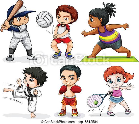 Kids engaging in different activities - csp18612584