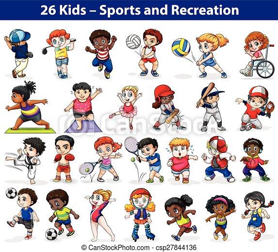 Kids engaging in different activities - csp27844136