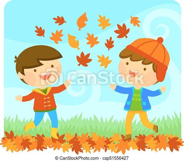 kids enjoying autumn - csp51556427