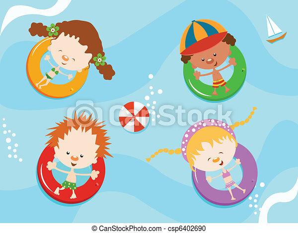 Kids Enjoying Water - csp6402690