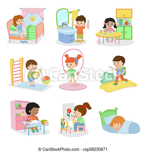Kids everyday activities set children daily activity routine in childhood character active child eating or studying illustration sleeping girl or playing boy in childroom - csp58230671