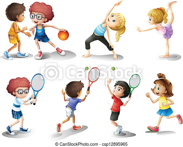 Kids exercising and playing different sports - csp12895965