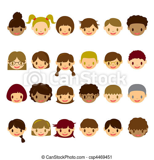 Kids Face Icons Set - csp4469451