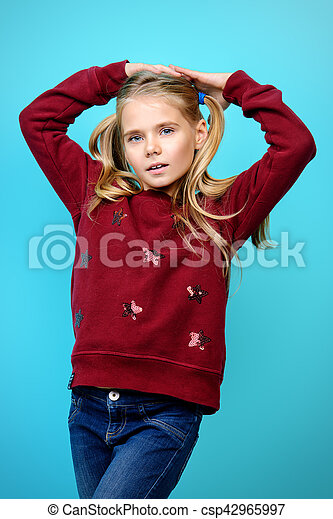 4d3819936 Kids fashion. Kid's fashion. portrait of a cute 7 year old girl ...