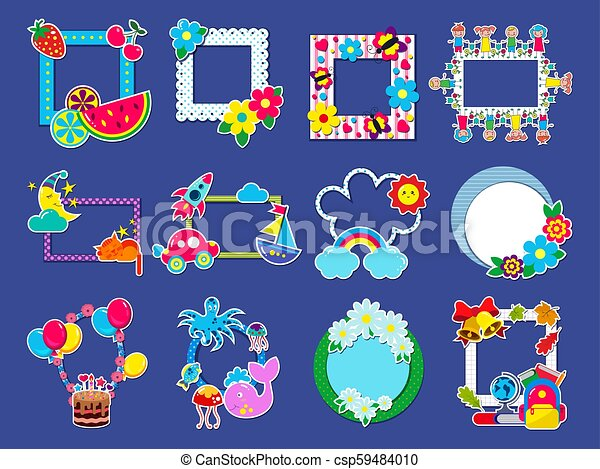 Kids Frame Vector Childish Framing Picture Or Child Photo On Wall