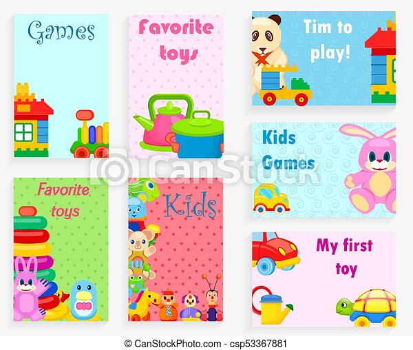 Kids Games And Favorite Toys Illustrations Set Kids Games And