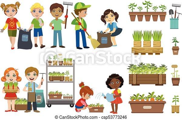 Kids gardening and pic...