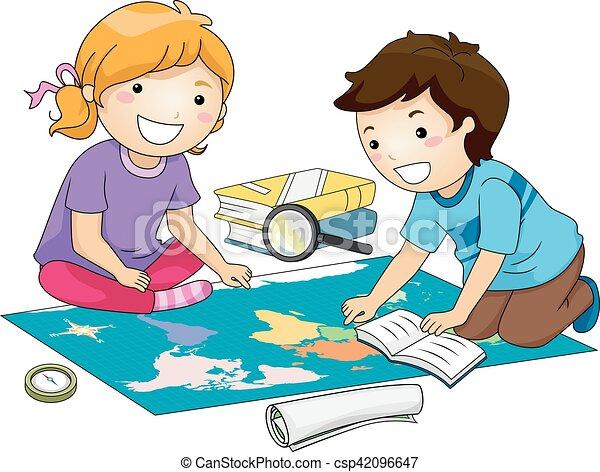 Kids Geography Study Map - csp42096647
