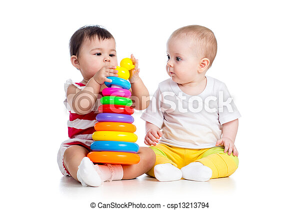 kids girls playing toy together - csp13213794