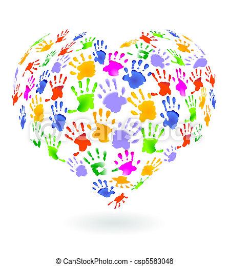 Kids hands prints sign - csp5583048