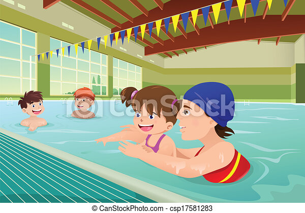 swimming pool vector. Kids Having A Swimming Lesson In Indoor Pool - Csp17581283 Vector