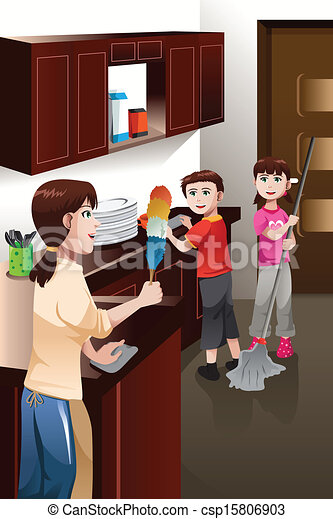 Kids helping their parent cleaning house. A vector ...