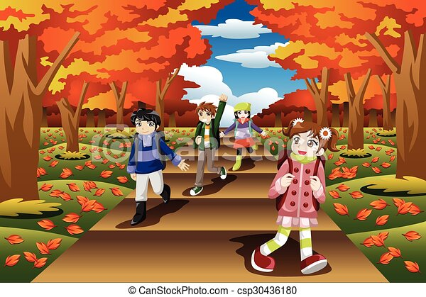 kids hiking in the fall season a vector illustration of happy kids rh canstockphoto com Spring Season Clip Art Spring Season Clip Art
