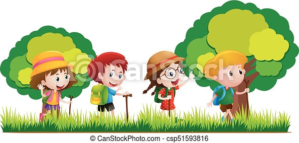 kids hiking in the forest illustration vector clip art search rh canstockphoto com clip art forest ranger clip art for estate sale