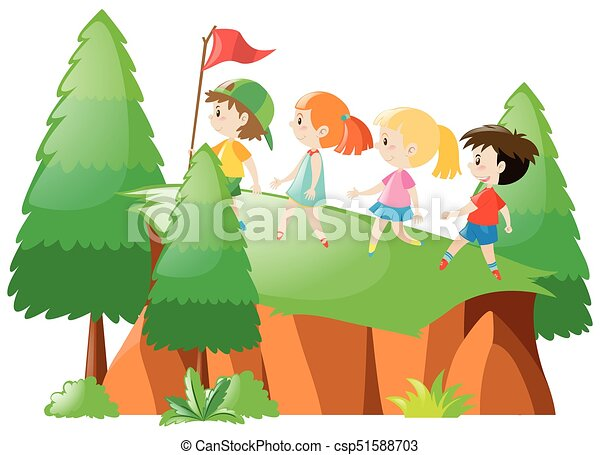 kids hiking up the mountain illustration vector clipart search rh canstockphoto com hiking clipart png clipart hiking boots