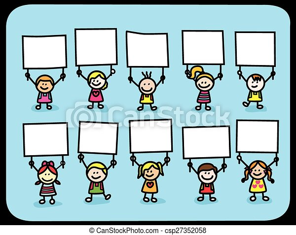 Kids holding banner - csp27352058