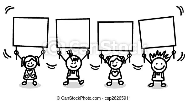kids holding banner - csp26265911