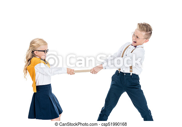 22b45134a94a Kids holding book. Cute boy and girl fighting for book isolated on ...