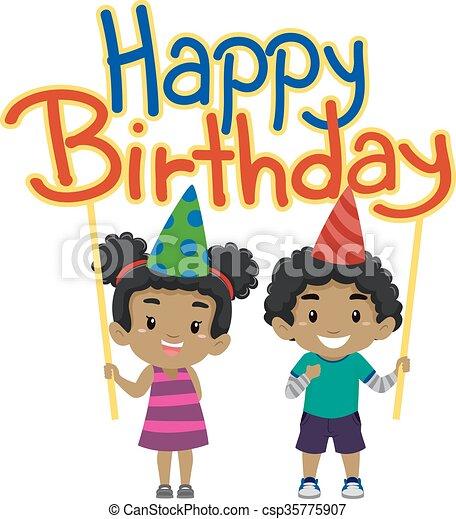 Kids Holding Happy Birthday Banner