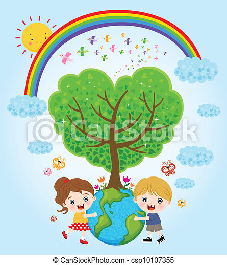 Kids Hugging Tree A Vector Illustration Of