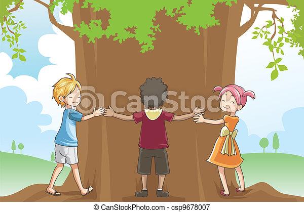 Kids Hugging Tree A Vector Illustration Of Kids Hugging A Tree