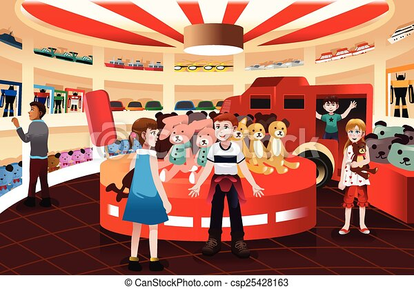 Kids in a toy store - csp25428163