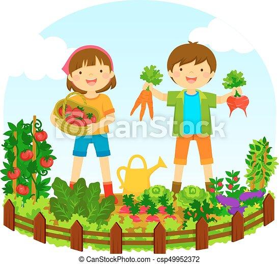 kids in a vegetable garden - csp49952372
