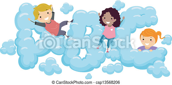 kids in an abc cloud illustration of kids playing in an abc shaped rh canstockphoto com