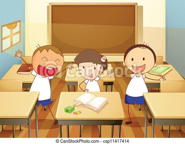 Kids in classroom. Detailed illustration of kids in a ...