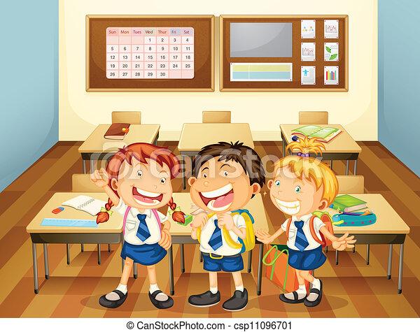 illustration of kids in classroom in the school rh canstockphoto com Door Holder Clip Art Door Holder Clip Art