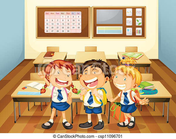 classroom clipart. vector kids in classroom clipart