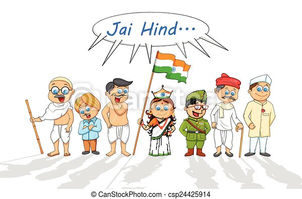Kids in fancy dress of Indian freedom fighter - csp24425914