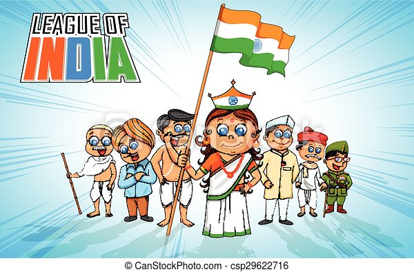 Kids in fancy dress of Indian freedom fighter - csp29622716